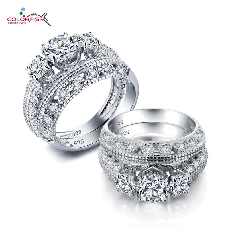 COLORFISH Silver Ring Set For Women Round Cut 1 Ct Three Stone Synthetic SONA 925 Sterling Silver Engagement Double Ring Set omuda xzx10 double ring keychain silver