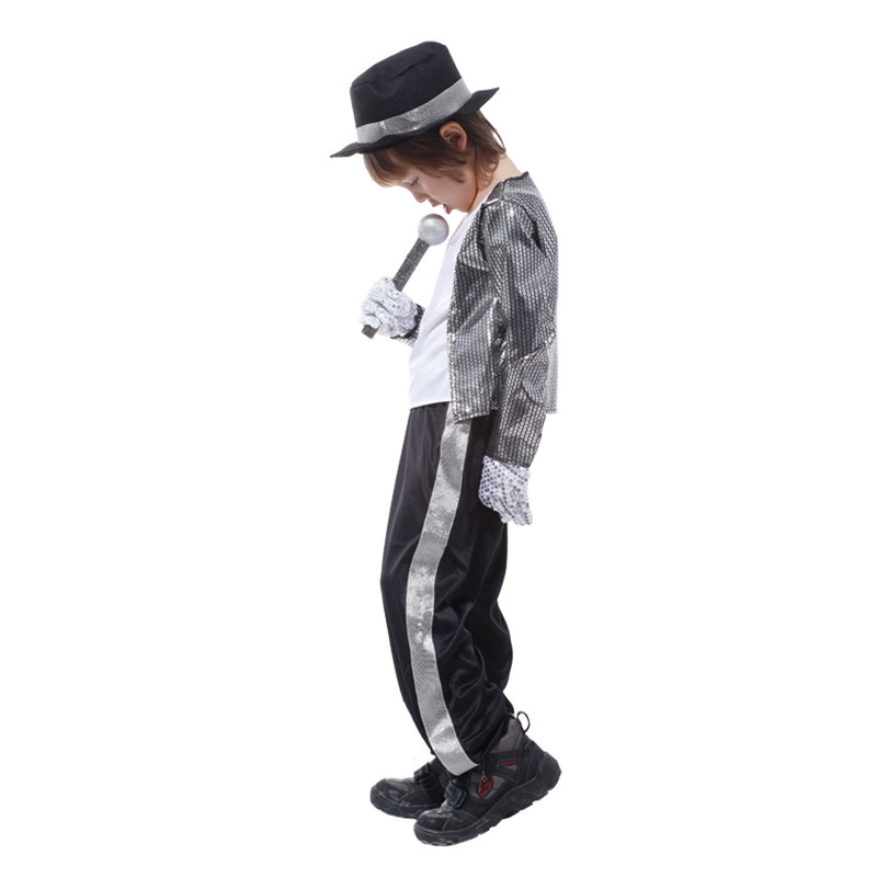 Classic Michael Jackson Cosplay Costume Kids Boys Halloween New Year Masquerade Billie Jean Superstar Stage Costumes