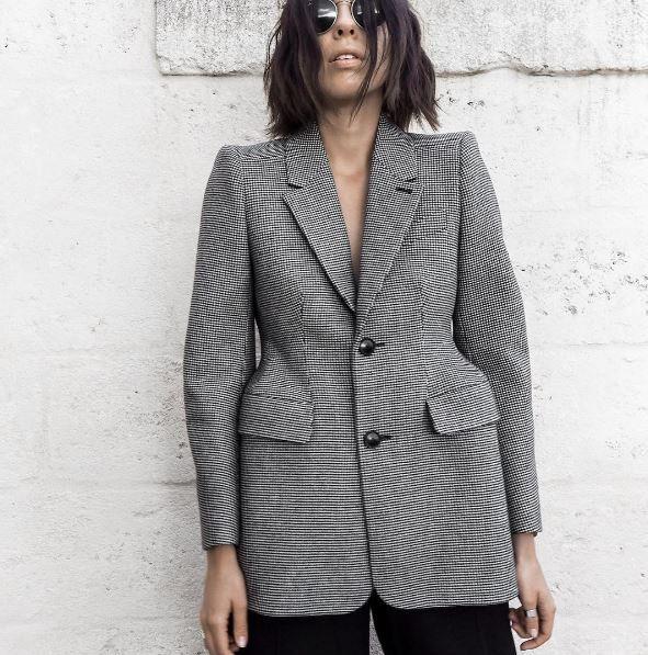 Mode Col De Longues Office Plaid Manches Manteau Lady Blazer Gray Ael Lattice Femmes Poche Mince Revers Femelle Clothin Printemps 0ZqFES