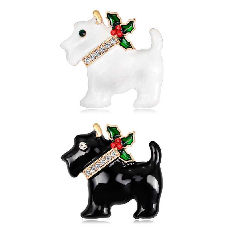 2018 عيد الميلاد السنة الجديدة جرو الكلب بروش حجر الراين دبابيس وشاح الموضة الصدار الهدايا