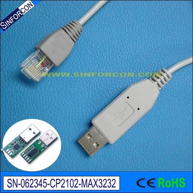 5.0mtr, color gris, CP2102 + ZT232 chip, Serie USB RS232 a RJ45 ...