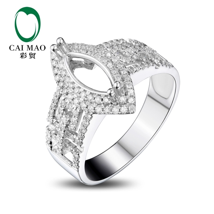 CaiMao Marquise cut Semi Mount Ring Settings & 0.47ct Diamond 18k White Gold Gemstone Engagement Ring Fine Jewelry