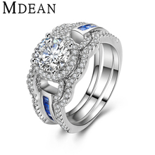 MDEAN White Gold Plated Ring Sets for women engagement ring CZ diamond jewelry vintage women 3 rings fashion Accessories MSR411