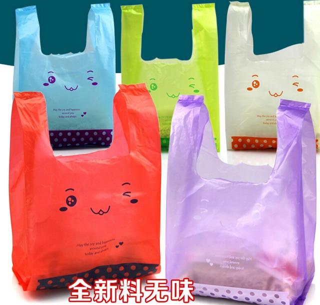 Smile large plastic bags shopping bag with handle for food takeout vest vest pocket Supermarket Shopping plastic pouch bag