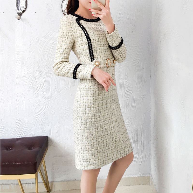 Nouveau Tweed robe femmes 2019 printemps Vintage automne laine Plaid robes femme élégant petit parfum laine robe dames bureau