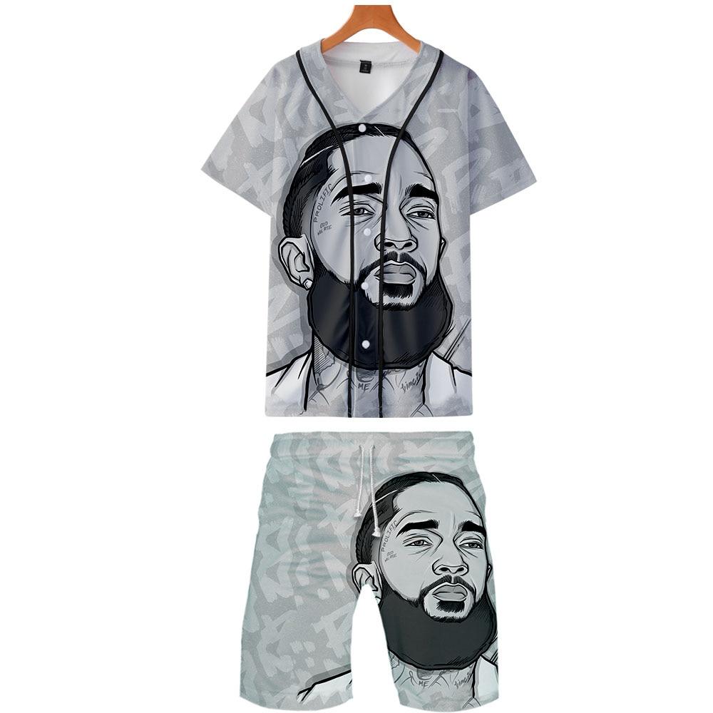 2019 Nipssey Hussle Two Piece Set Jackets And Shorts Kpop Fashion New Cool Print Nipssey Hussle Baseball Jacket Set For Men