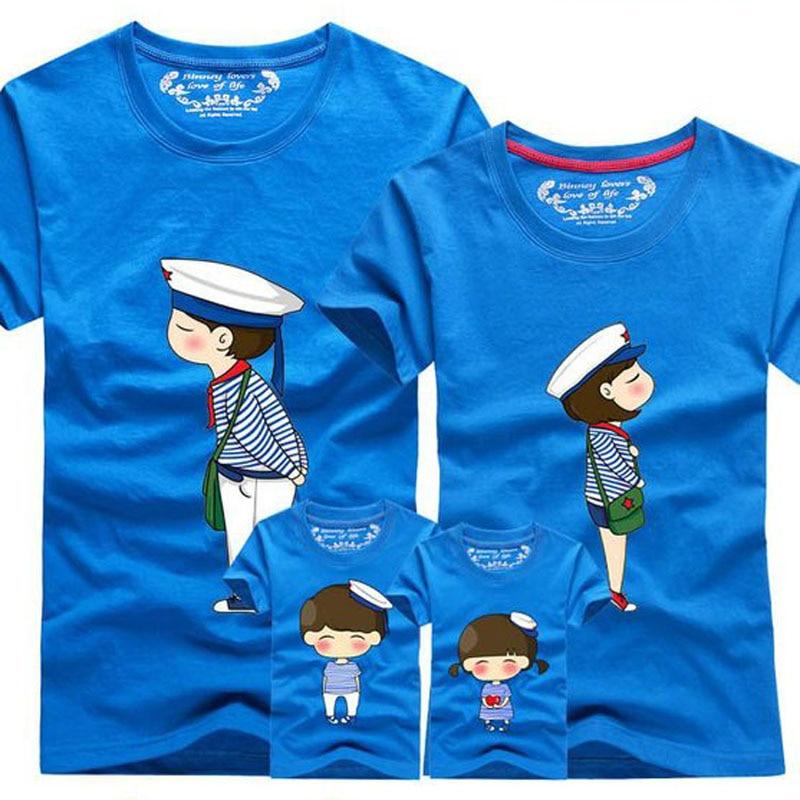 1 Stück 2019 Familie Blick Mädchen Und Mutter Paar T Shirt Blau Streifen Cartoon Weiblich Männlich 4xl Sommer Kurzen Ärmeln Papa Sohn T-shirt