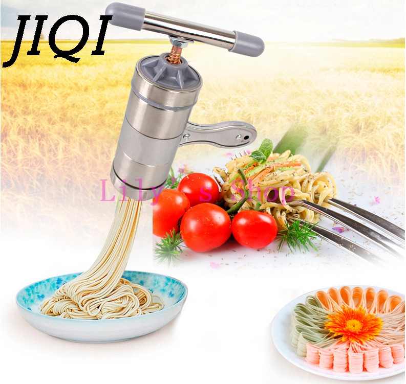 Manual noddles pasta maker stainless steel noodle pressing making machines Spaghetti pasta cutter Home kitchen cooking tools 1pc household mini pasta machine manual metal spaetzle makers pressing machine pole head mingled split noodle tools