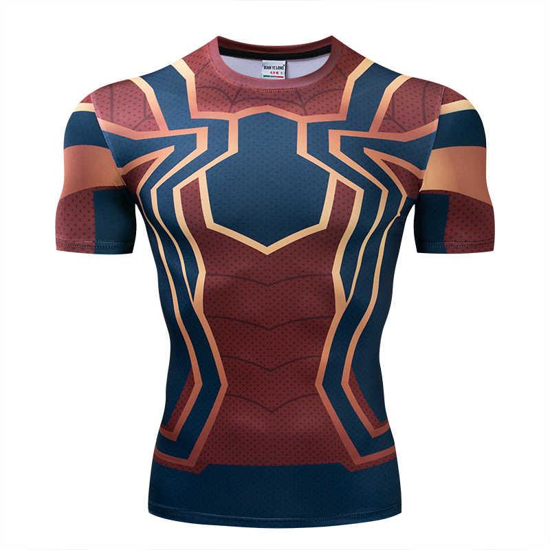 ラグランスリーブスパイダーマン 3D プリント Tシャツ男性圧縮シャツ 2019 夏新コスプレ衣装男性の場合トップスフィットネス布