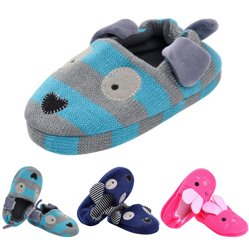 Cute Cotton Winter Home Slippers Cartoon Rabbit Style Non-slip Baby Shoes Soft Cotton Boys Girls Slipper 1-8Y Children 3 Colors