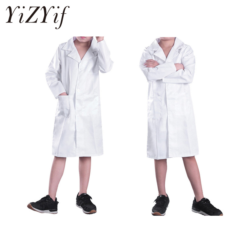 Us 8 57 38 Off Unisex Boy Girls Long Sleeves Doctor Cosplay Uniform Lab Coat Halloween Party Costume Dress Up Children Doctor Role Play Clothes In