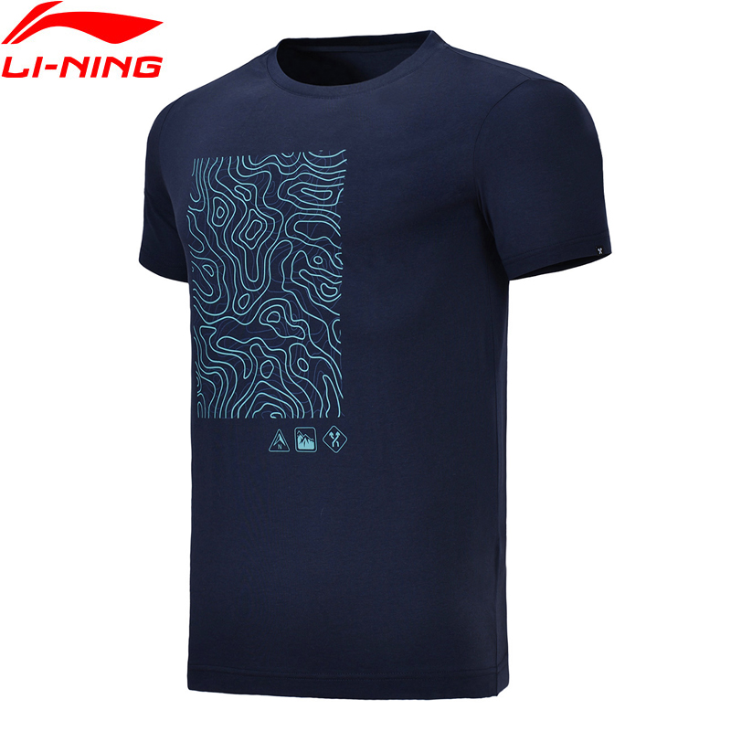 Li-Ning Men Outdoor T-Shirt Breathable Regular Fit 92.5% Cotton 7.5% Spandex LiNing Comfort Sport Tee Tops AHSN019 MTS2732