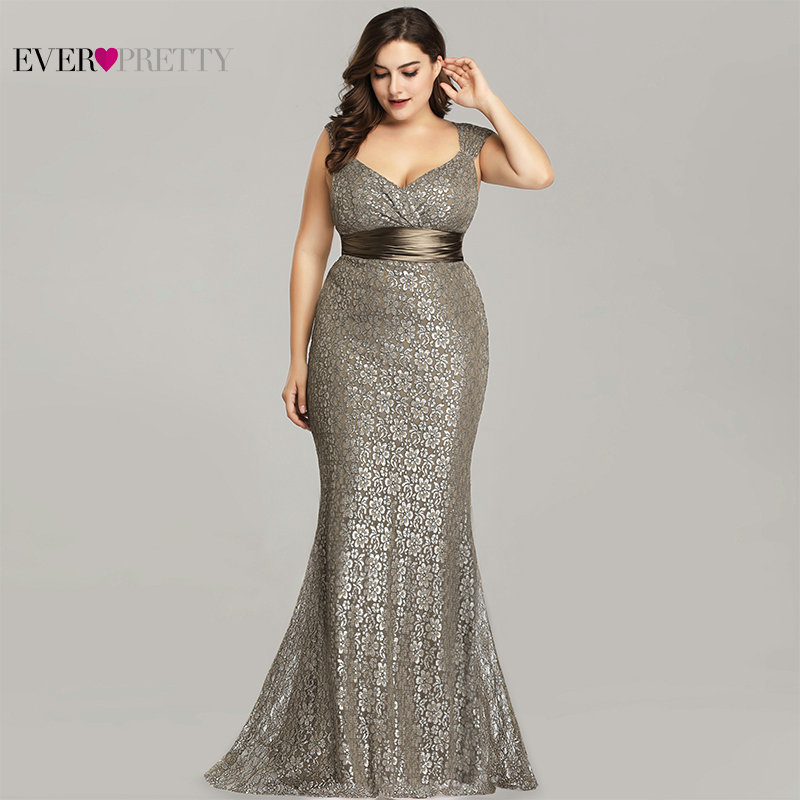 Plus Size Evening Dresses 2019 Ever Pretty EP08798CF Elegant Mermaid Lace Sleeveless Party Gowns Vintage Sexy  Robe De Soiree(China)