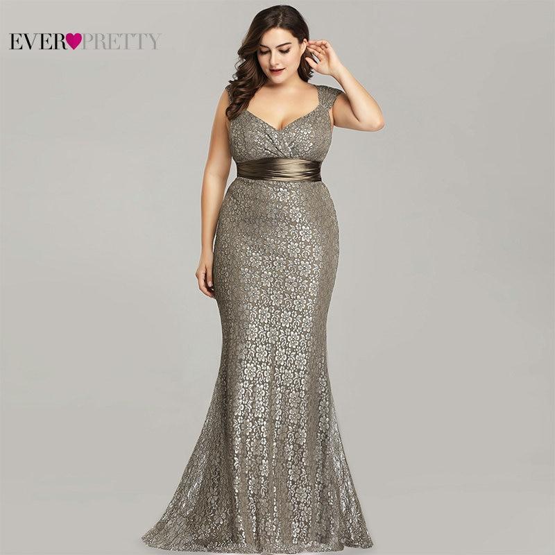 bff286b3565 Плюс размеры вечерние платья 2019 когда либо довольно EP08798CF Элегантный  Русалка кружево вечерные одежды без рукава Винтаж пикантные халат De .
