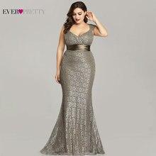 プラスサイズのイブニングドレス2020エヴEP08798CFエレガントなマーメイドレースノースリーブパーティードレスヴィンテージセクシーなローブ · ド · 夜会