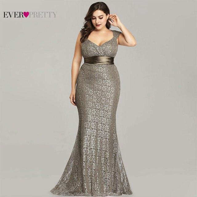 Grande taille robes De soirée 2020 Ever Pretty EP08798CF élégant sirène dentelle sans manches robes De soirée Vintage Sexy Robe De soirée