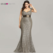 Plus Size Evening Dresses 2020 Ever Pretty EP08798CF Elegant Mermaid Lace Sleeveless Party Gowns Vintage Sexy Robe De Soiree cheap Ever-Pretty V-Neck Sweep Train Floor-Length Polyester Trumpet Mermaid Christmas Appliques Sashes empire