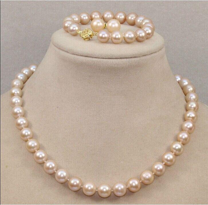 Vente chaude nouvelle-élégant 10-11mm naturel du sud mer rose perle collier Bracelet Boucle D'oreille 18 pouce
