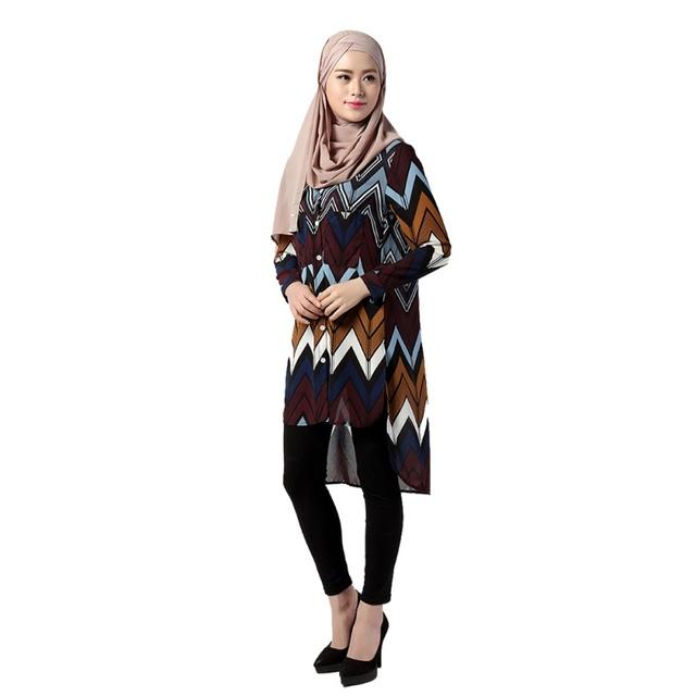 Chiffon de moda Acetato de Pano Muçulmano Manga Comprida Blusa Loose Women Camisas Turco Casual Blusa Plus Size