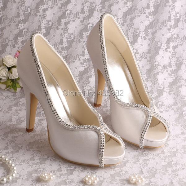 ФОТО Wedopus MW1348  High Heels Ivory White Satin Wedding Bridal Shoes for Women with Rhinestones