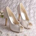 Wedopus MW1348  High Heels Ivory White Satin Wedding Bridal Shoes for Women with Rhinestones