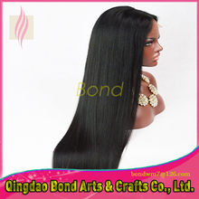 Long Straight Glueless Full Lace Wig Human Hair Virgin Brazilian Front Lace Wig with baby hair natural color free ship