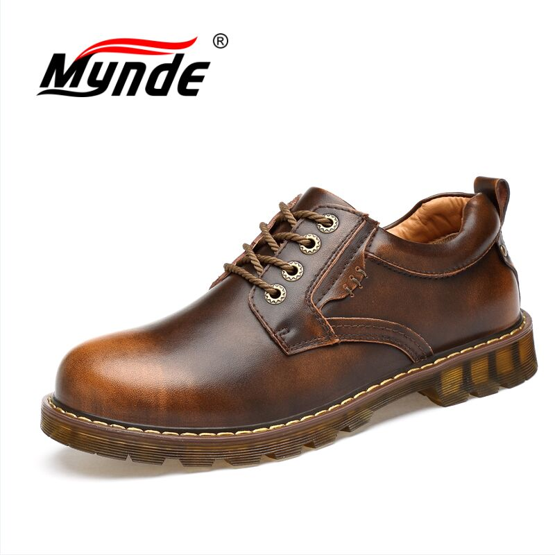 MYNDE Brand Handmade Breathable Men's Oxford Shoes Top Quality Dress Shoes Men Flats Fashion Genuine Leather Casual Shoes Men стоимость
