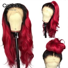 COLODO Ombre Red Lace Front Human Hair Wigs Remy Brazilian Hair Loose Wave Wig with Pre Plucked Baby Hair Bleached Knots Women(China)