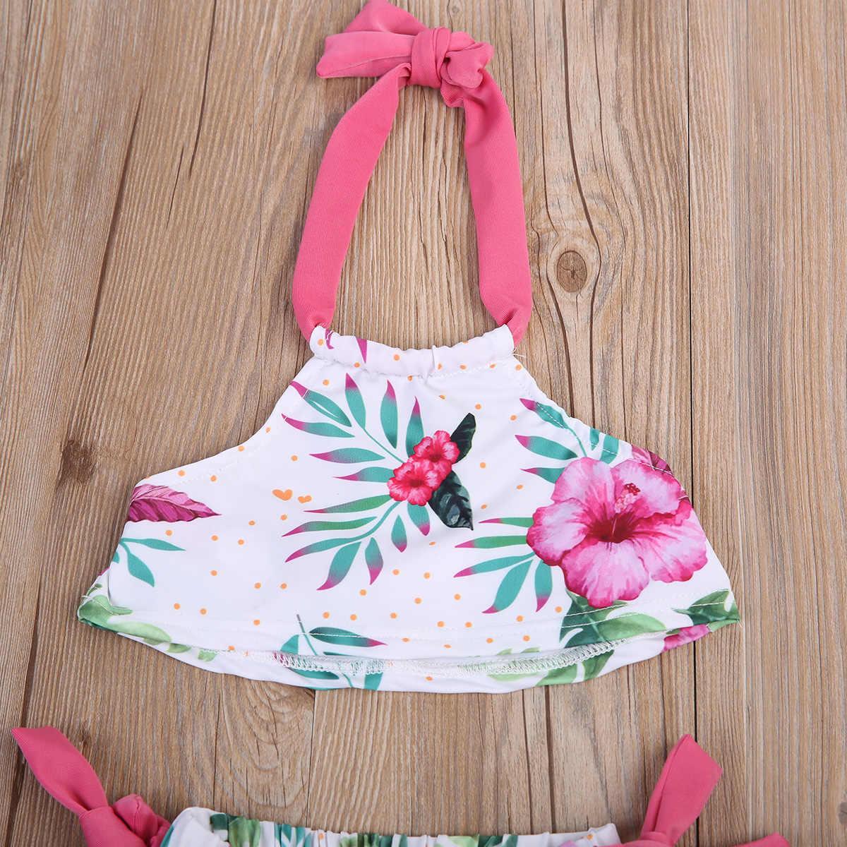 Musim panas Balita Perempuan Kids Pink Floral Putih Indah Lucu Cukup Swimsuit Bathing Tankini Bikini Set Swimwear Beachwear