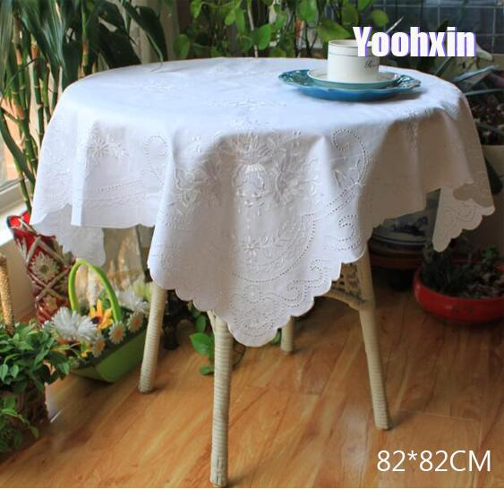 Modern White Lace Embroidery Tablecloth Square Tea Coffee