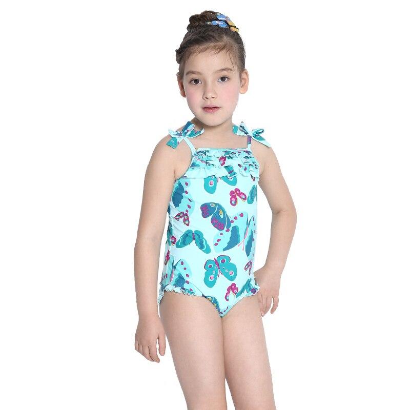 girl's one-piece swimwear child girls light blue butterfly print elegant - Angela Miyao's store