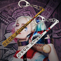 2017 New Anime Game Suicide Squad Keychain Cool Men Jewelry Harley Quinn Key Chain Ring Baseball Bat Key Holder Chaveiro