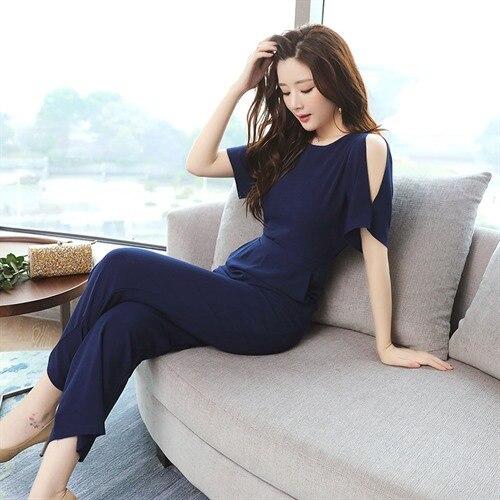 Summer Jumpsuit 2018 Women solid color Chiffon Jumpsuits Fashion Long Woman Jumpsuit