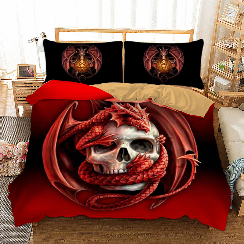 White Skull and Red Dinosaur Printed Red Duvet Cover Set 3 Pieces Boys Microfiber Home/Dorm Bedding Set with 2 PillowcaseWhite Skull and Red Dinosaur Printed Red Duvet Cover Set 3 Pieces Boys Microfiber Home/Dorm Bedding Set with 2 Pillowcase