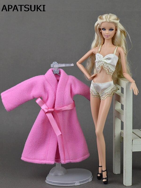 3 Pz/set Pigiami Sexy Del Merletto Della Biancheria Set Rosa Coat + Bra + Biancheria Intima Vestiti Per La Bambola Di Barbie Vestiti Della Bambola Di Vendita Calda Accessori