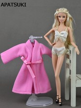 3pcs/set Sexy Lace Pajamas Lingerie Set Pink Coat + Bra + Underwear Clothes For Barbie Doll Clothes Hot Sell Doll Accessories(China)