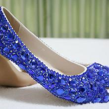 Crystal Queen Royal Blue Rhinestone Ballet Flats Women Shoes Flat Heel  Pointed Toe Women Wedding Party 50111b0ca706