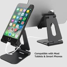 Foldable aluminum phone tablet stand holder dock for iPhone iPad Samsung tablet and all smartphone devices - with dual adjustabl