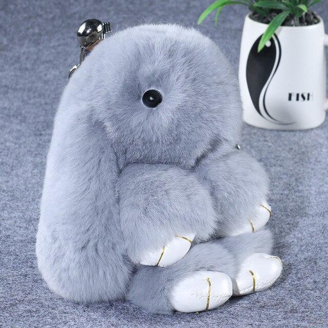 14 CM Cadeia Chave Chaveiro Coelho Real Rex Rabbit Fur Fluffy Saco de Mulheres da Moda anel de Pom Pelúcia Pingente Ornamento Carro llaveros pompom