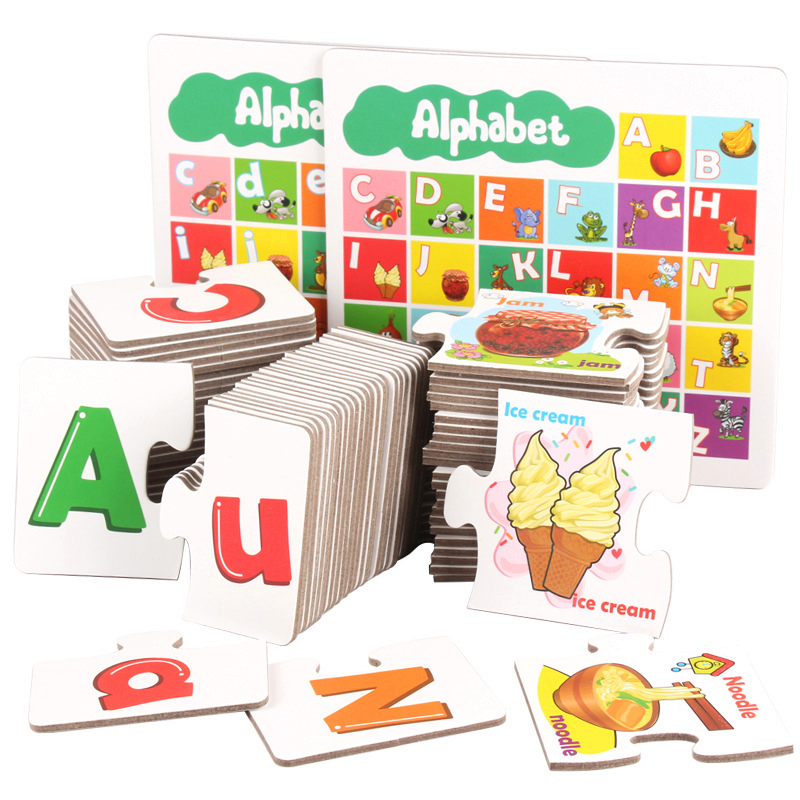 Candywood 2018 nouveaux enfants lettres anglaises Alphabet Puzzle jeu cartes éducatifs apprentissage jouets lettre correspondant jeu avec boîte