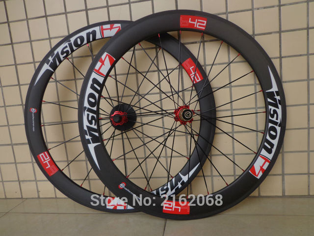 Cheap Newest red 700C front 50mm+rear 60mm clincher rim Road bicycle matte UD full carbon bike wheelset 20.5 23 25mm width Free ship