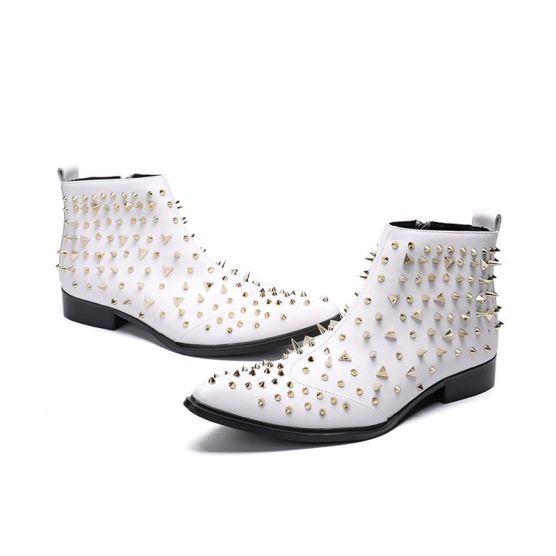 Nuevo Fiesta Cuero Genuino Hombres Botas Remaches White Los Diseñador Zapatos Trabajo De Carrera Casual Chelsea Tendencia YOwqUrY