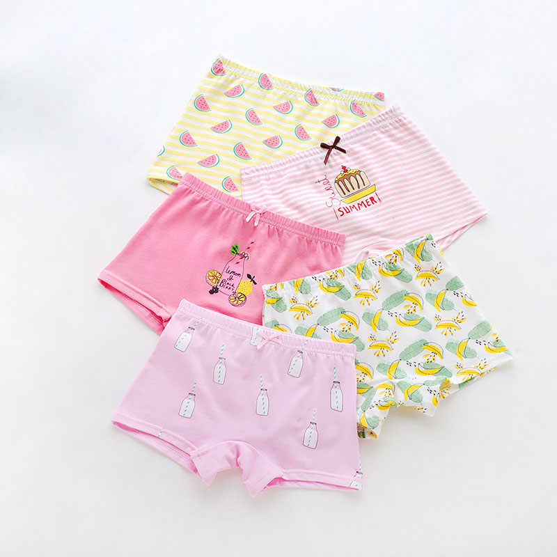 5pcs/lot New Girl Cotton Cute Panties Print Animal Pattern Baby Underwears Kids Underwear Girls Pink Boxer Briefs