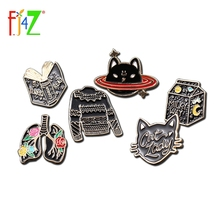 Black Cat Pins Sweater Brooches Milk-Costume Heart-Book Women Spaceship Gift Pendiente