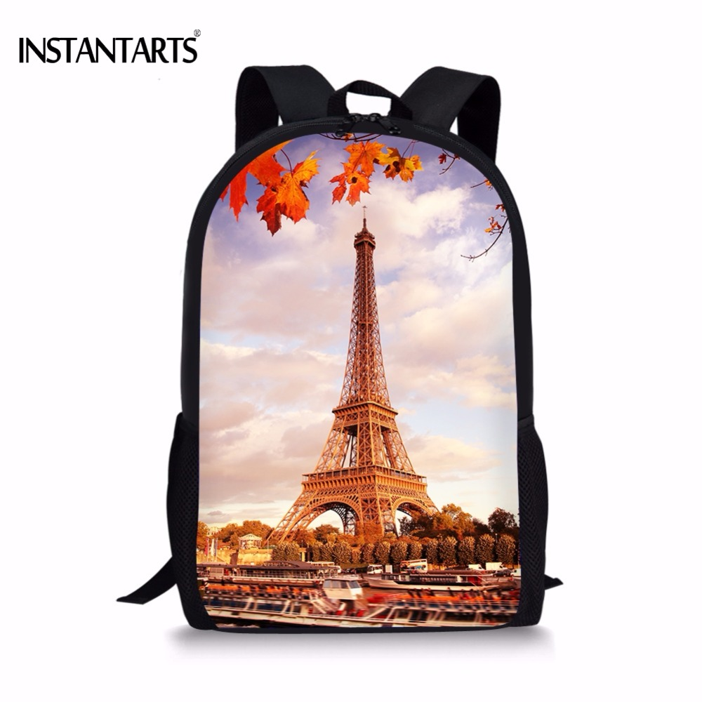 Instantarts Casual Paris Eiffel Tower Print Women Men Backpacks Lap Top Rucksack For Teens Girls Boys School Student Schoolbags