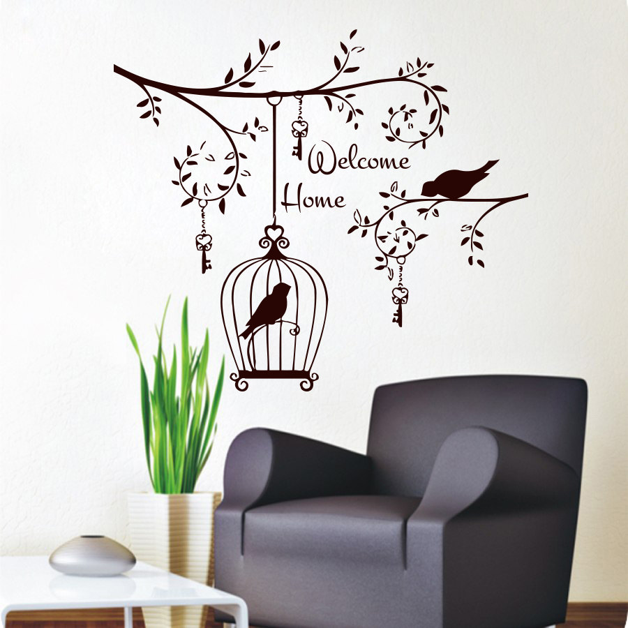Welcom home living room decorative wall sticker birds in for Vinilos pared aliexpress