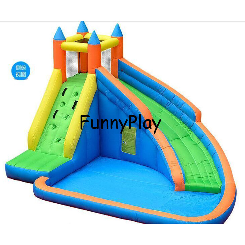 Inflatable water slide for children yard home garden for Best rated inflatable swimming pool