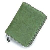 Vintage Style Women Wallet Fashion Design Split Leather Credit Card Wallet Women RFID Blocked Saft Short Wallet Best Gift