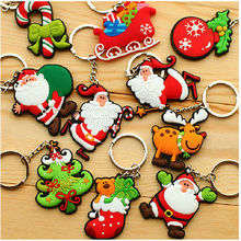 1pc Funny Father Christmas PVC Keychains Santa Claus Keyfob Gift XMAS Keyrings Key chains Accessories Random Color