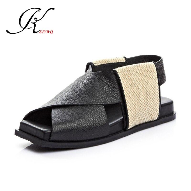 ФОТО 2017 Genuine leather Sandals Women Open toe 3 CM Flat Platform Waterproof Summer style shoes Woman Size 34-39 Box Packing B503